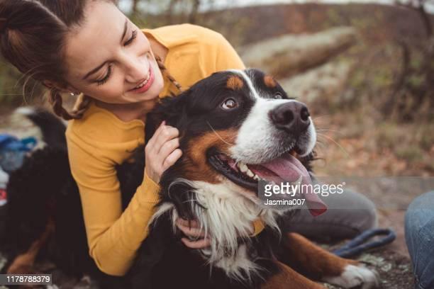 young woman with dog - one animal imagens e fotografias de stock