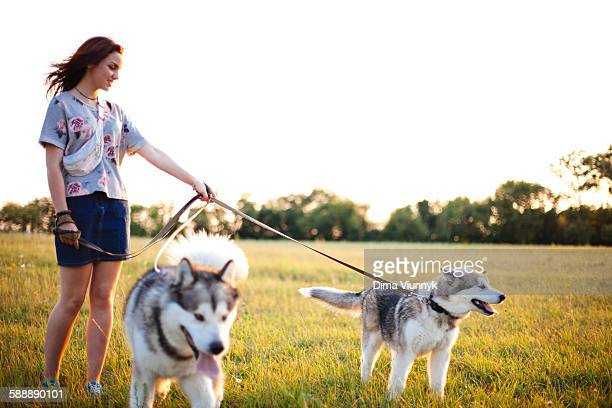 Young woman with dogs