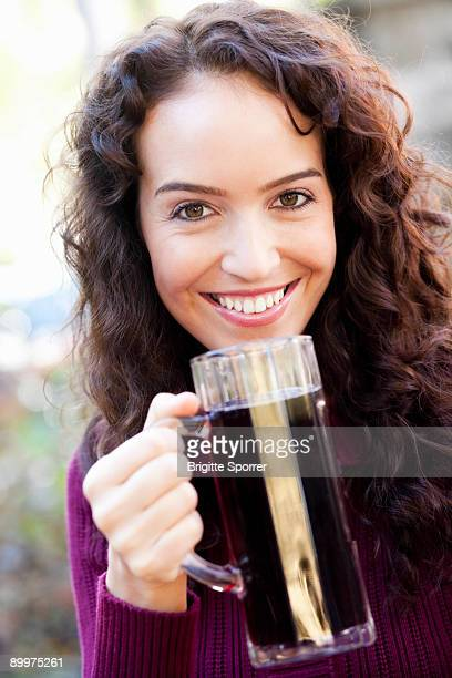 young woman with drink