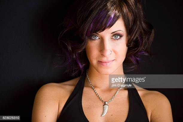 young woman with dyed hair - neckline stock pictures, royalty-free photos & images