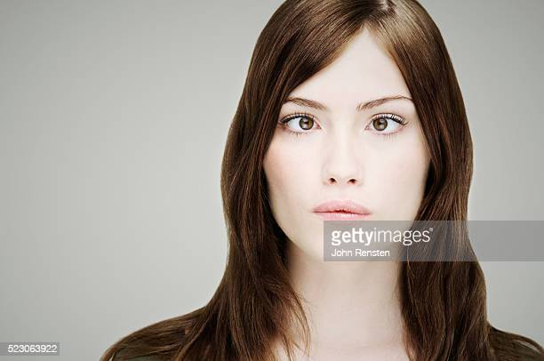 Young Woman with Eyes Crossed