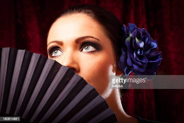 young woman with fan - flamenco dancing stock photos and pictures