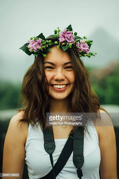 Young woman with floral crown