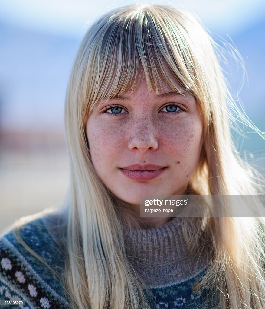 Young woman with freckles. : Stock Photo