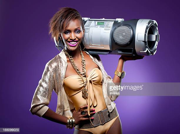 young woman with ghettoblaster - all hip hop models stock photos and pictures