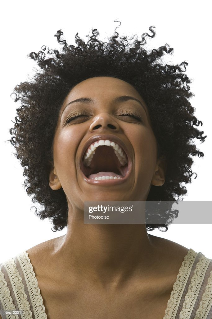 Young woman with his mouth wide open : Foto de stock