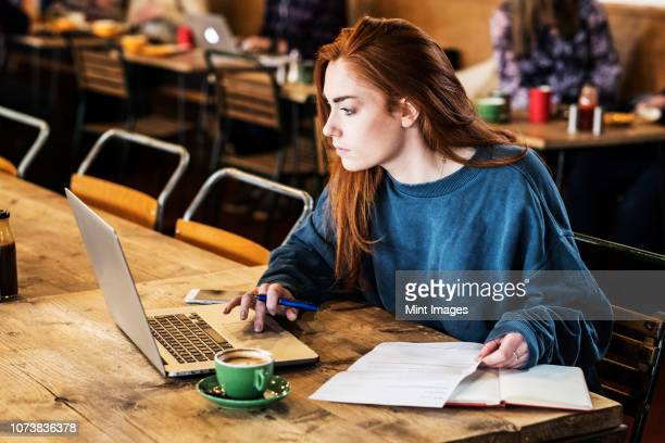 young woman with long red hair sitting at table, working on laptop computer. - flexplekken stockfoto's en -beelden