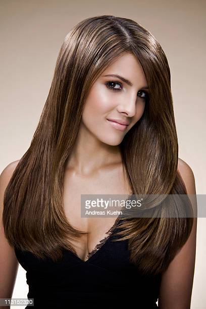 young woman with long shiny hair, portrait. - dominican ethnicity stock photos and pictures