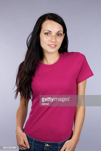 Young woman with magenta t-shirt