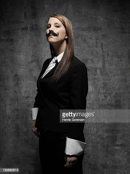 young woman with moustache