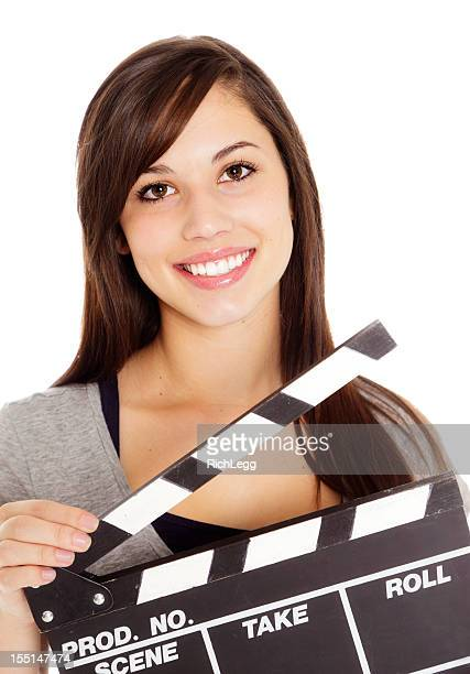 Young Woman with Movie Clapboard