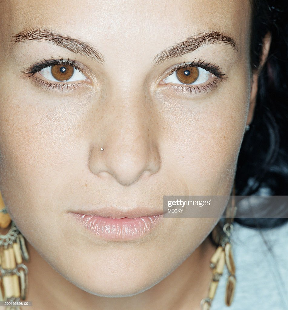 Young Woman With Nose Piercing Closeup Portrait High Res Stock