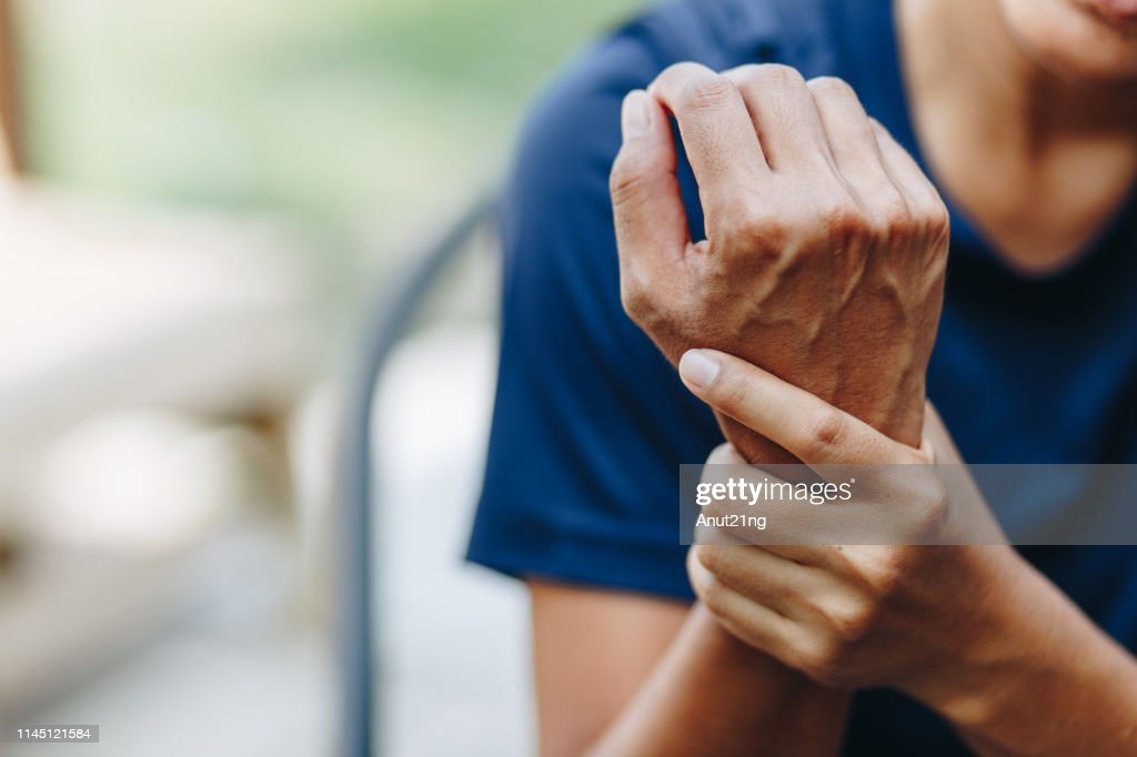 young woman with pain in shoulder, Ache in human body , office syndrome , health care concept : Stock Photo