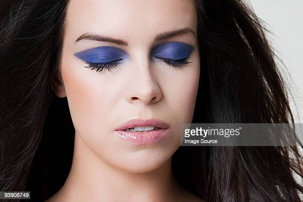 young woman with purple eyeshadow - purple eyeshadow stock photos and pictures