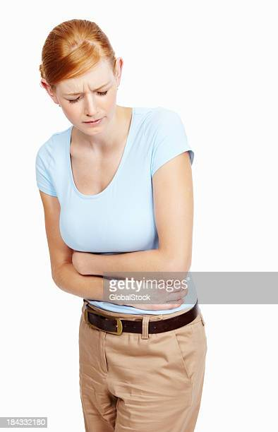 Young woman with severe stomach ache