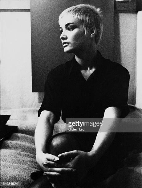 Young woman with short haircut in black and white