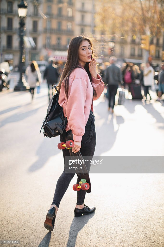 Young woman with smart phone in Barcelona, technology. : Stock Photo