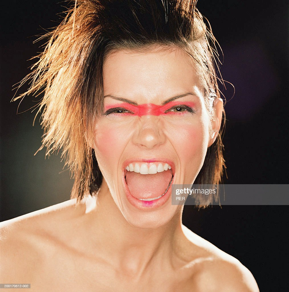 Young Woman Withe Painted Across Eyes Shouting Portrait Stock P O