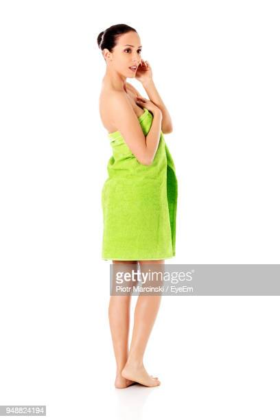 Young Woman With Towel Against White Background