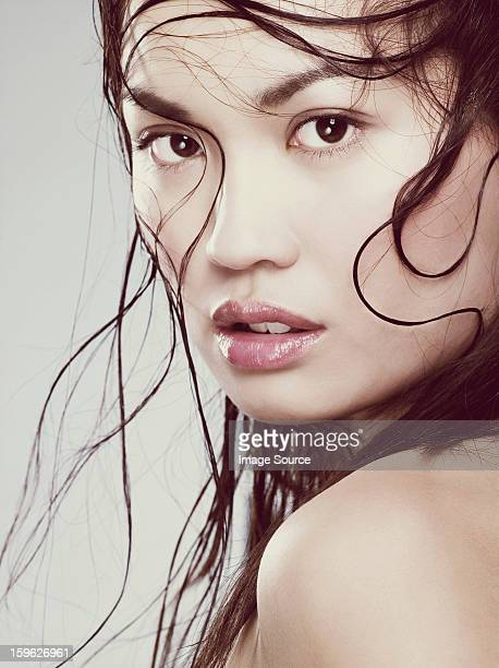 Young woman with wet hair.
