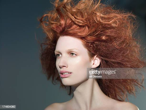Young woman with wild hair