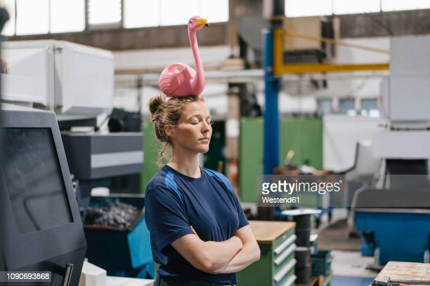 young woman working as a skilled worker in a high tech company, balancing a pink flamingo on her head - gegensatz stock-fotos und bilder