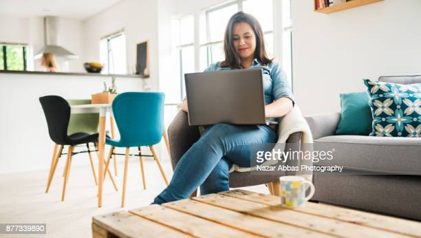 Young woman working from home.