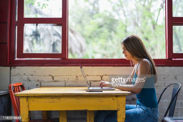 young woman working on laptop in colorful coffee shop - side view stock pictures, royalty-free photos & images