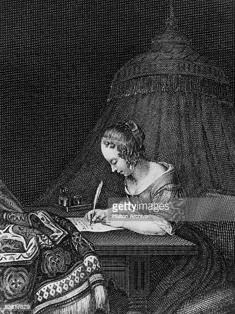 A young woman writes a letter circa 1650 An engraving by W French after a painting by G Terburg