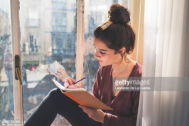 young woman writing in diary. - authors foto e immagini stock