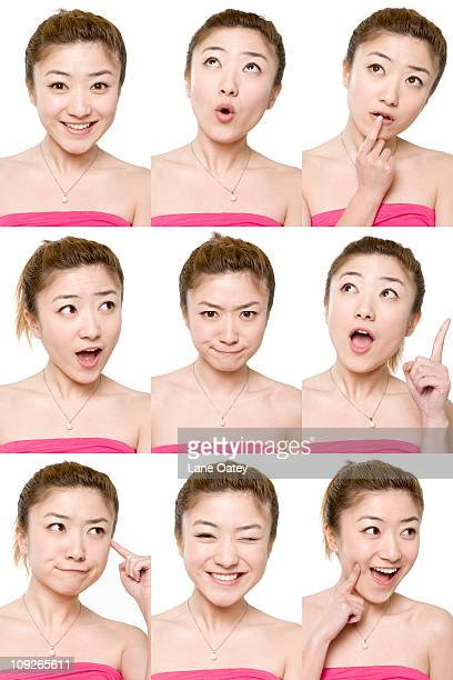 Young woman's different facial expression