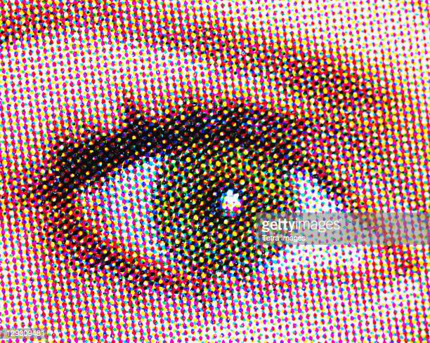 Young woman's eye pixelated