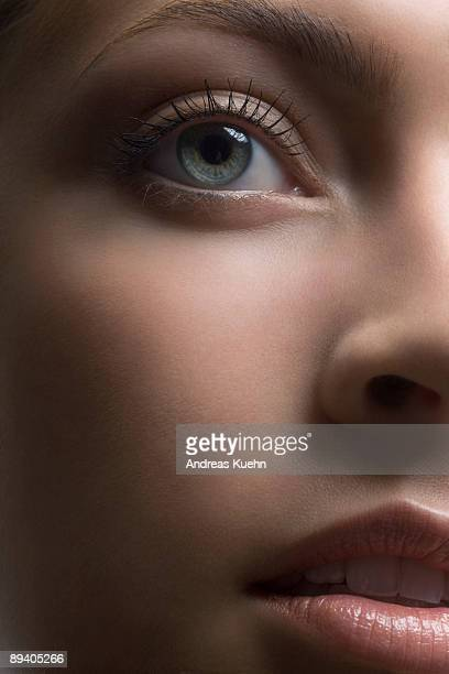 Young woman's face, close up.
