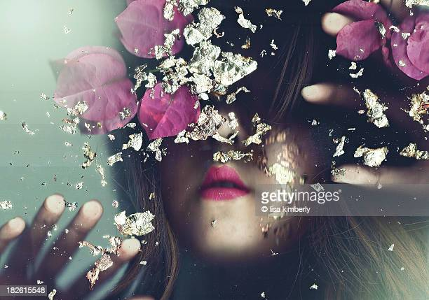 Young Woman's Hidden Face Pressed Against Glass