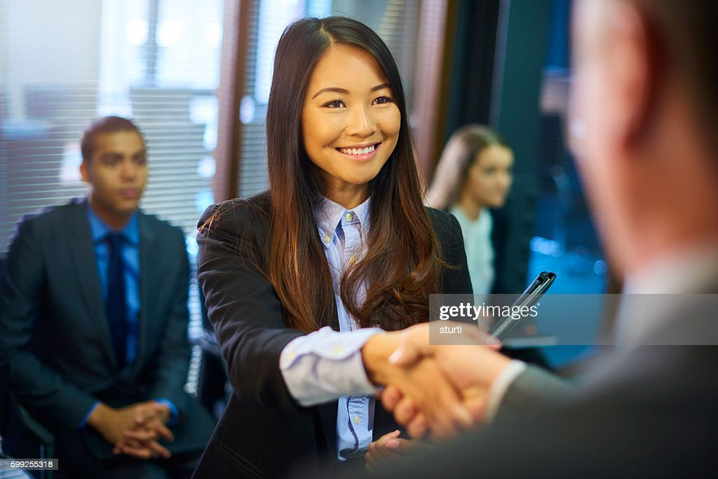 young woman's job interview : Stock Photo