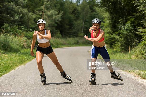 Young women, 19 years, inline skating, country road, Schurwald, Baden-Wurttemberg, Germany