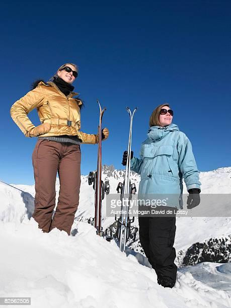 Young women admiring mountain view