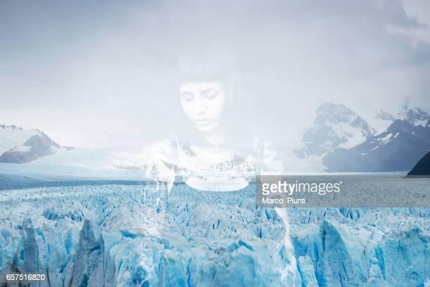 Young women and frozen iceberg double exposure