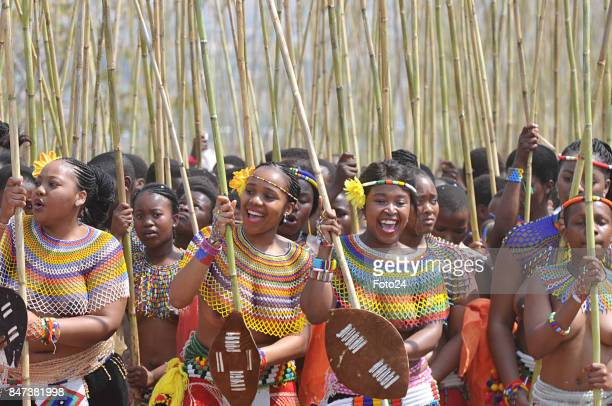 Young women and girls participate in the annual Royal Reed Dance festival on September 08 2017 in KwaZuluNatal South Africa The Reed dance is a...