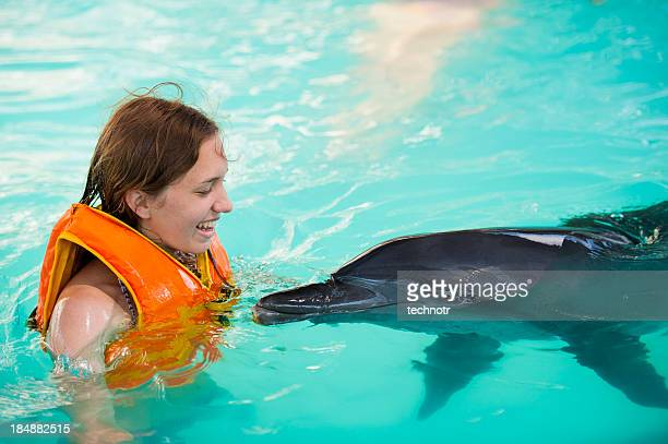 Young women and the dophin