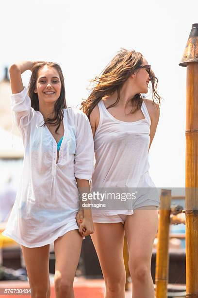 Young women are enjoying vacation