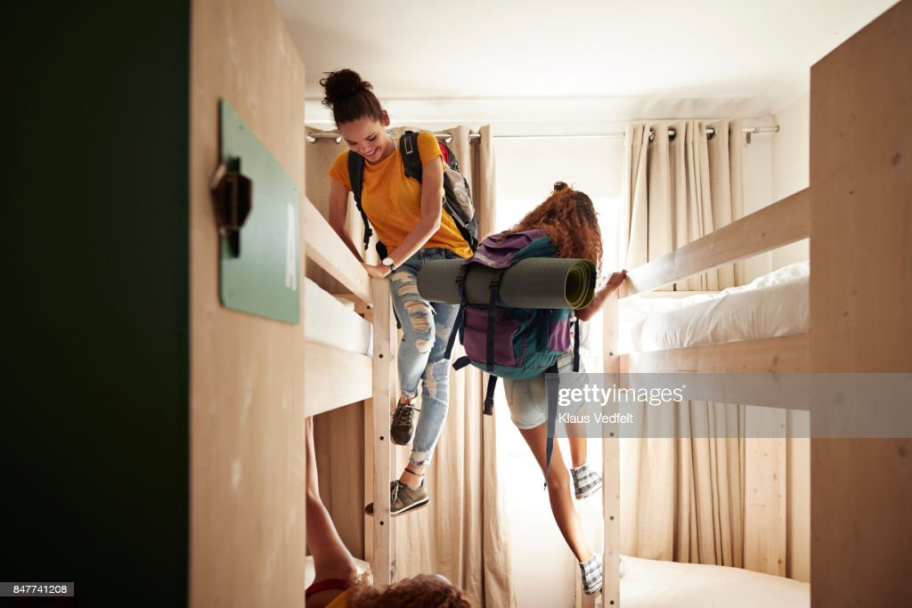 https://media.gettyimages.com/photos/young-women-arriving-to-room-with-bunk-beds-at-youth-hostel-picture-id847741208