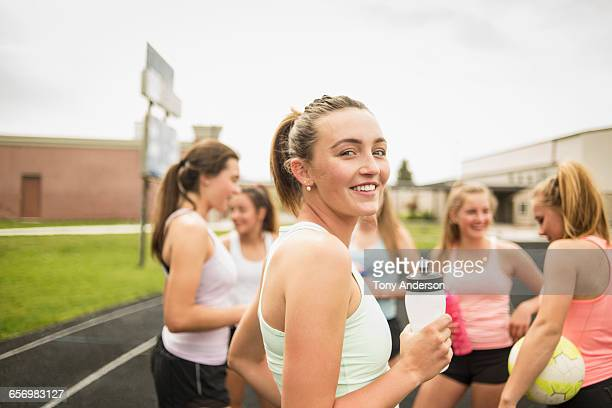 Young women athletes on school track