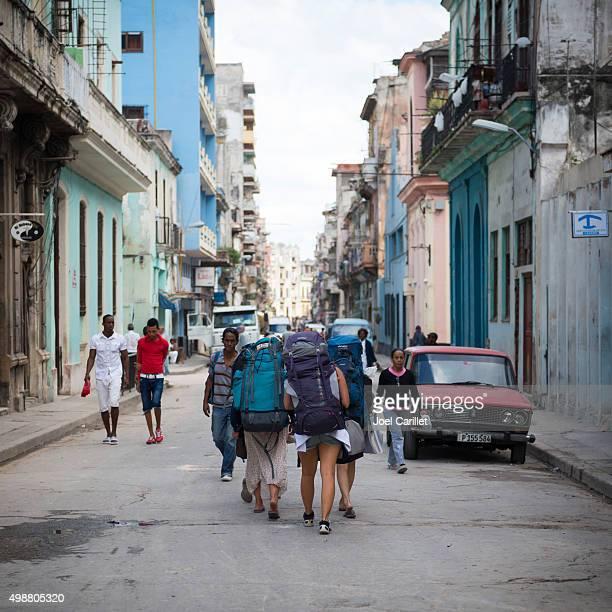 Young women backpacking in Havana, Cuba