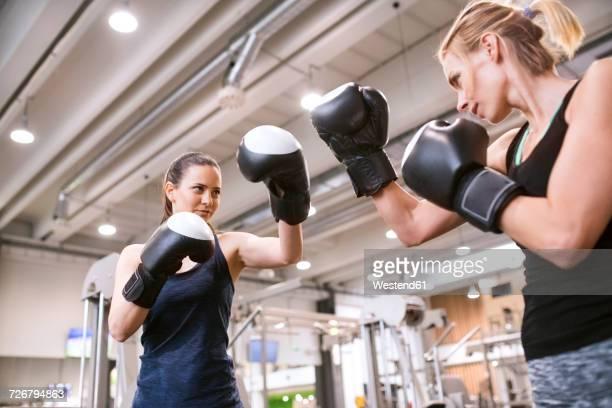 young women boxing in gym - fair play sport foto e immagini stock