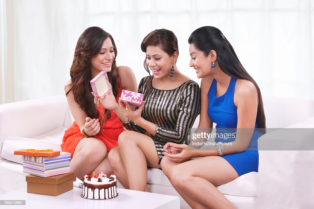 Young women celebrating a birthday : Stock Photo