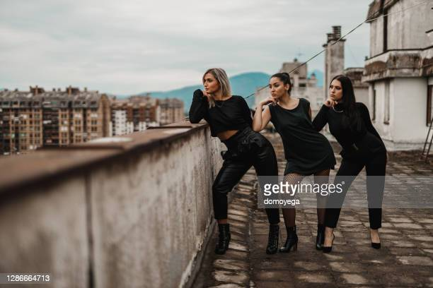 young women dancers on top of the city building - competition group stock pictures, royalty-free photos & images