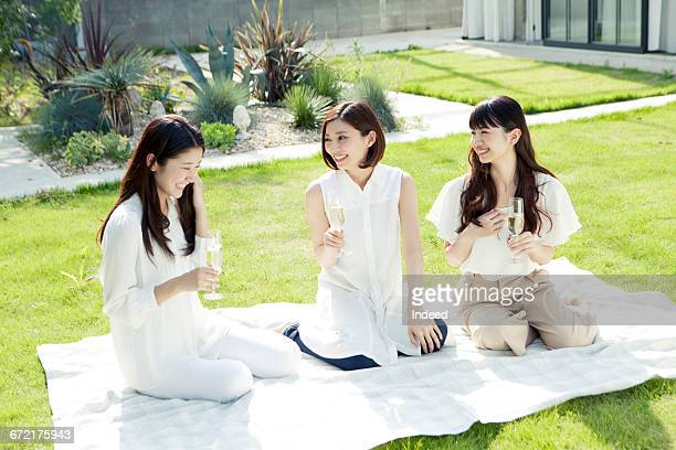 Young women drinking champagne on picnic blanket