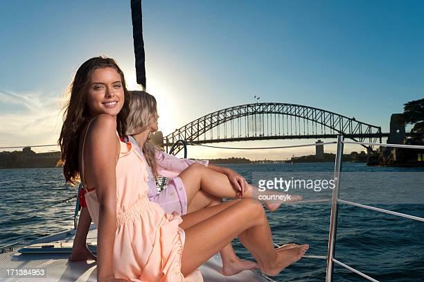 Young women enjoying the sunset