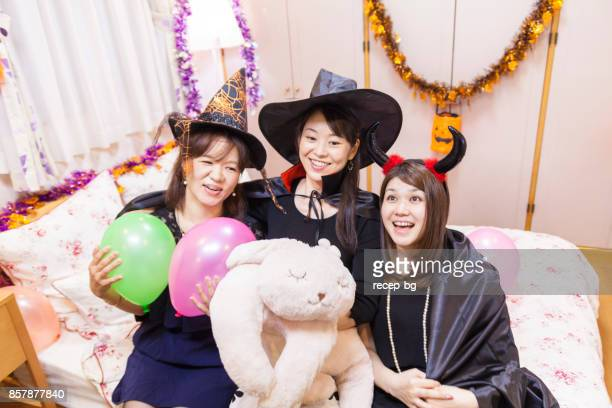 young women enjoying with balloons - japanese girls hot stock photos and pictures
